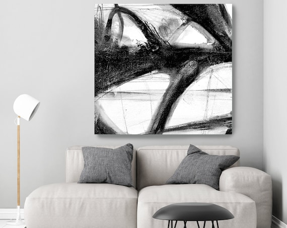 Black and White Abstract Painting Minimalist Art, Modern Wall Art Decor, Textured Painting on Canvas, Canvas Art Print