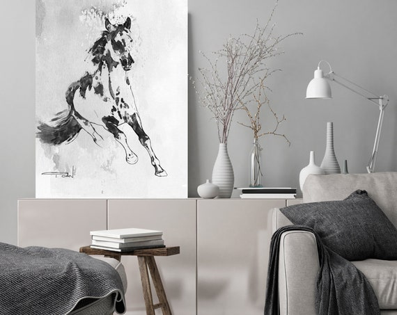 Wild Running Horse. Black White Horse Painting, Black Contemporary Horse, Minimalist Horse Painting, Horse Canvas Art Print Horse Wall Decor