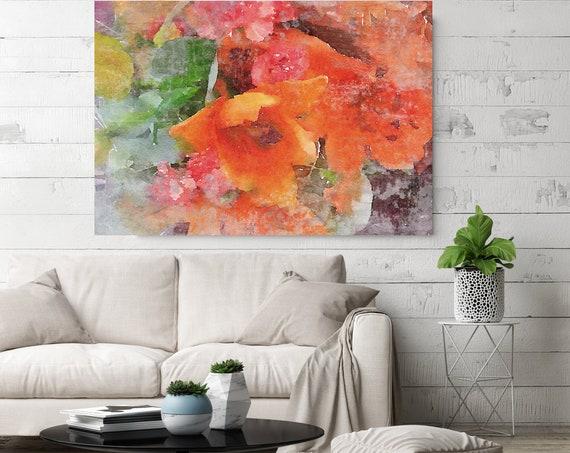"Vibrant Summer 5 Vintage Red Flower Watercolors Painting Canvas Print Green Red Flower Watercolors Painting Canvas Art Print up to 72"""