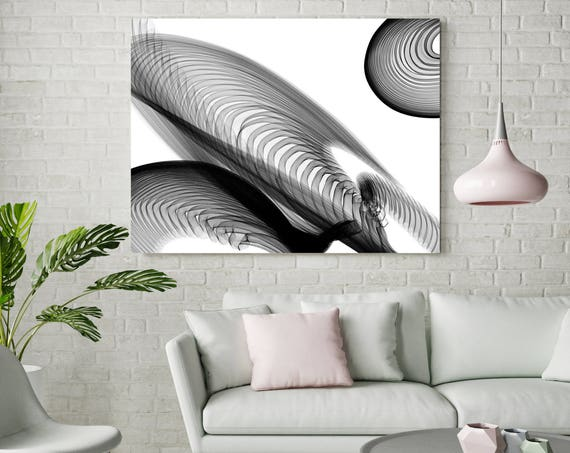 "Abstract Black and White 22-04-45. Contemporary Unique Abstract Wall Decor, Large Contemporary Canvas Art Print up to 72"" by Irena Orlov"