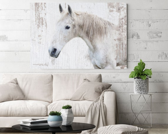 "White Rustic Farmhouse Horse Photographic Print. Extra Large Horse, White Grey Rustic Horse, Large Canvas Art Print up to 72"" by Irena Orlov"