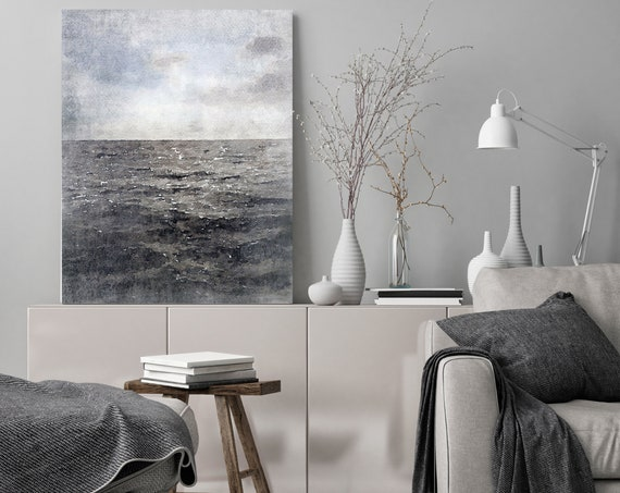 "Dark Water, Beach Decor, Coastal Wall Canvas Art, Blue Gray Seascape, Sea Canvas Print 80"" by Irena Orlov"