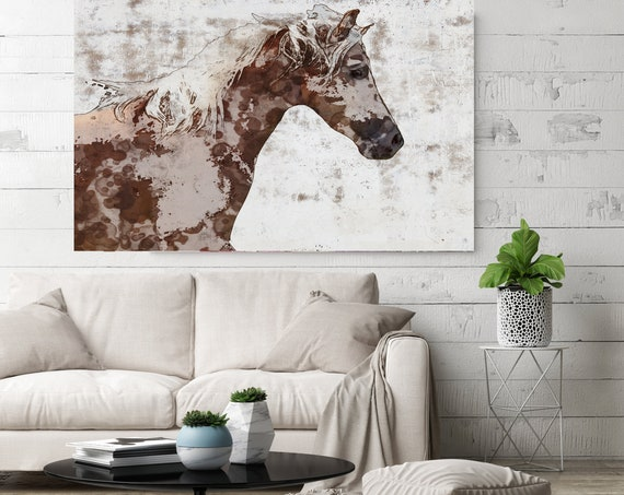 Gorgeous brown and white stallion. Horse Painting Horse Home Decor Horse Canvas Horse Canvas Art Horse Print Horse Horse Wall Decor