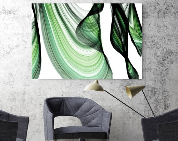 "ORL-10287-10-37-2 BlueTech 2017-04-14. Unique Green Abstract Wall Decor, Large Contemporary Canvas Art Print up to 72"" by Irena Orlov"
