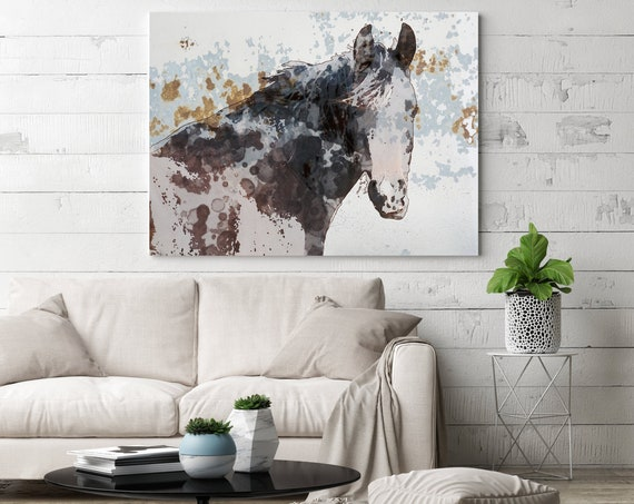 American Paint Horse. Horse Art Large Canvas, Horse Art, Brown Rustic Horse, Beautiful Equine Horse, Horse gift, Horse Painting Canvas Print