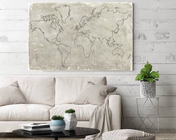 Huge world map, Old World Map, Rustic map, Industrial art, Map Home Decor, Vintage Map, Map canvas art print, Beige Map, Antique Map