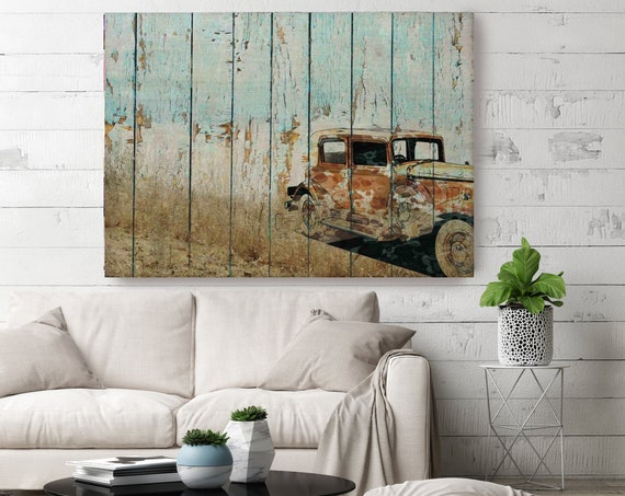 Sweet Memories, Old Car Canvas Print, Rustic Car Painting Print, Car Canvas art, Blue Brown Car Print, Transportation Wall Decor, Farmhouse