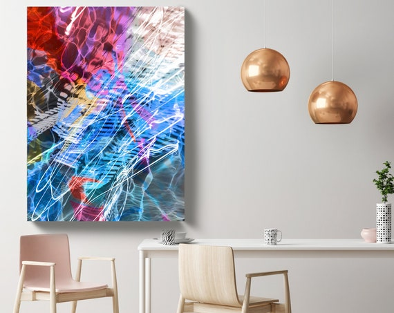 Ocean Abstract, Coastal Modern Red Blue Canvas Art Print, Contemporary Coastal Abstract, Abstract Water Canvas Print