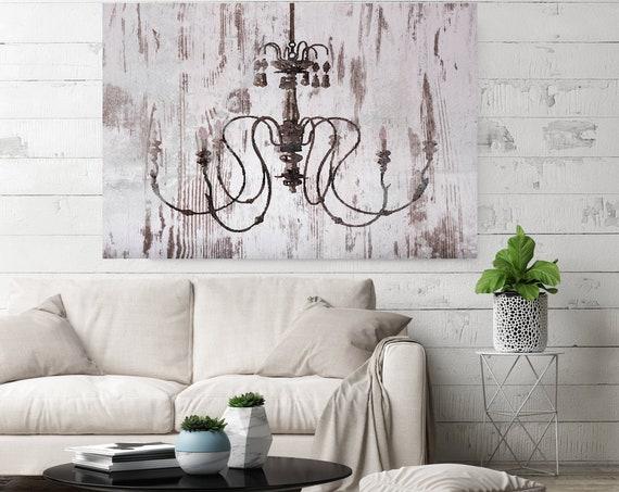 Chandeliers canvas art print, Chandelier painting, Shabby Chic chandelier, Brown Chandelier Canvas Print, Chandelier Wall Decor