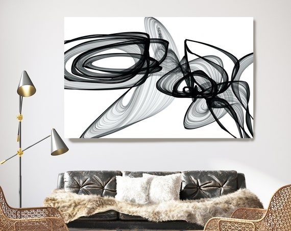Surveillance. 45H x 60W inch, Innovative ORIGINAL New Media Abstract Black And White Painting on Canvas Minimalist Art