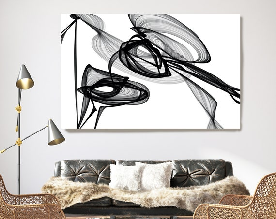 What did you see there? 45H x 60W inch, Innovative ORIGINAL New Media Abstract Black And White Painting on Canvas Minimalist Art