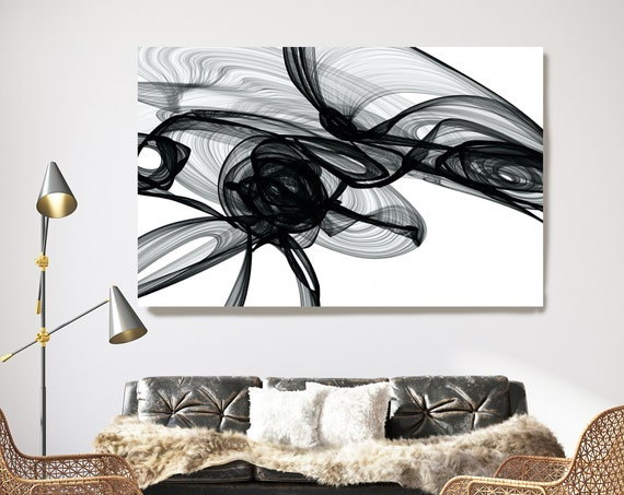 Virus. 45H x 60W inch, Innovative ORIGINAL New Media Abstract Black And White Painting on Canvas Minimalist Art
