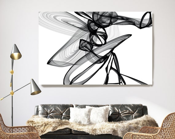 Voices Rise 45H x 60W inch, Innovative ORIGINAL New Media Abstract Black And White Painting on Canvas Minimalist Art