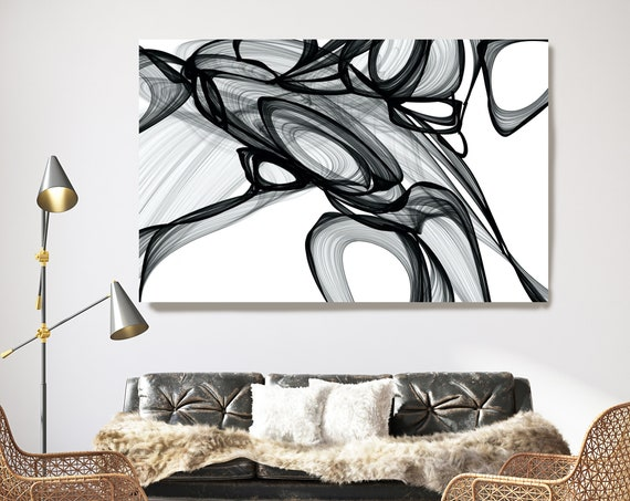 Trying to Find a Clue. 45H x 60W inch, Innovative ORIGINAL New Media Abstract Black And White Painting on Canvas Minimalist Art
