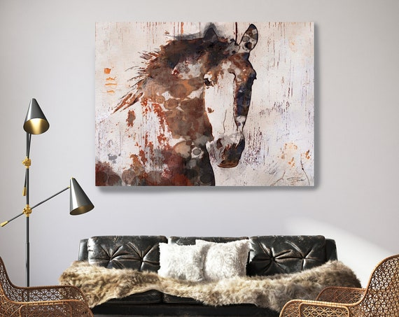 Brown Horse on Wood, Natural Rustic Horse Art Print on WOOD, Gorgeous Horse Art on Wood Equestrian Farmhouse ART Barn Horse, Farmhouse Art