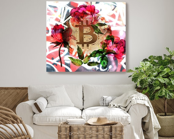 Bitcoin Floral Inspiration, Digital Currency Canvas Print, Cryptocurrencies Textured Art, Cryptocurrency Bitcoin Graffiti, Print on Canvas