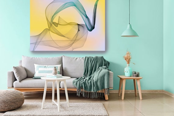 Yellow Abstract Gradient Flow Modern Abstract Wall Art Decor Abstract Canvas Print Modern Trendy art Luxury Abstract Painting Minimalist