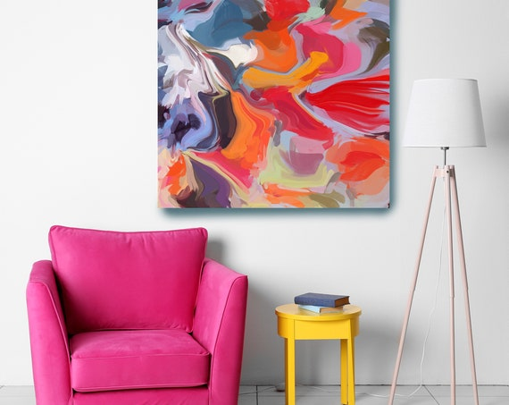 Color Flow. Colorful Abstract Painting / Abstract Painting / Modern Art / Contemporary Art / Red Blue Canvas Print