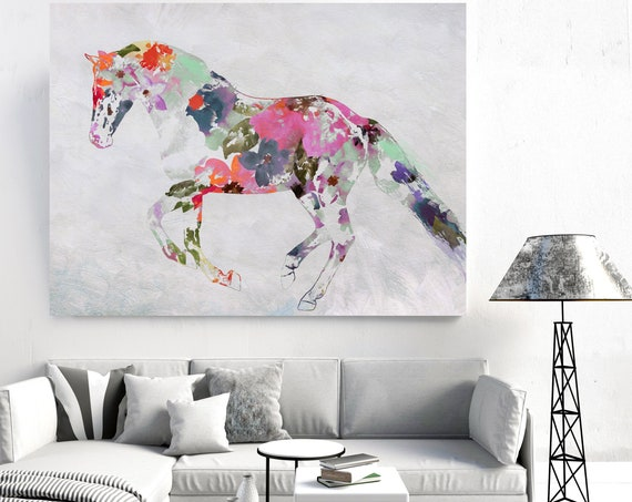 Bohemian Wedding Colorful Abstract Floral Horse BOHO Watercolor floral horse, farm animals, watercolor horse. Horse Canvas Print