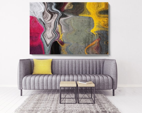 """Red Yellow Abstract Rhythms NO 60. Abstract Paintings Art, Wall Decor, Extra Large Abstract Colorful Canvas Art Print up to 72"""" Irena Orlov"""