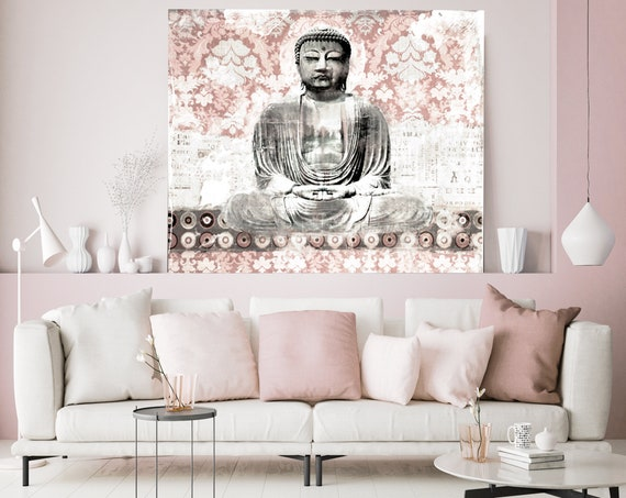 Rustic Buddha Wall ART, Buddha Art Decor, Buddha Oversized Canvas Print