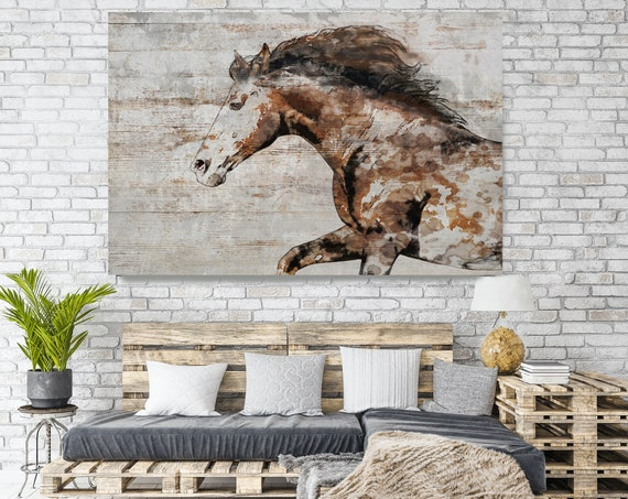 WILD Horse on Wood, Natural Rustic Horse Art Print on WOOD, Wild Horse Art on Wood Equestrian Farmhouse ART Barn Horse, Farmhouse Art