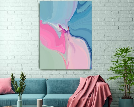Bohemian Large Abstract Art, Pink Abstract Canvas Print Large Modern Abstract Wall Art, Abstract Painting, Colors on the blue side 2