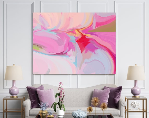 Large Abstract Art, Colorful Art, Abstract Canvas Print Large Modern Abstract Pink Abstract Wall Art, Abstract Painting, A soft Solfege 2