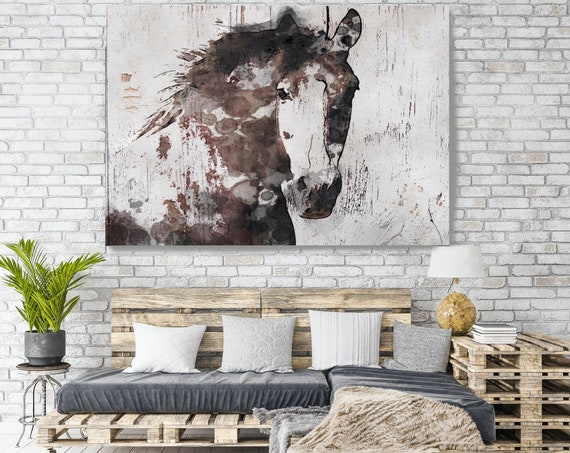 Horse on Wood, Natural Rustic Horse Art Print on WOOD, Gorgeous Horse Art on Wood Equestrian Farmhouse ART Barn Horse, Farmhouse Wall Art