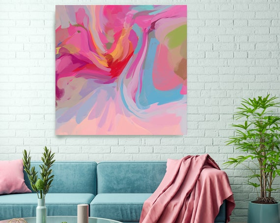 Fathom Pink Blue Abstract Fine Art Canvas, Abstract Art, Contemporary Art, Modern Pink Painting, Expressionism Canvas Print