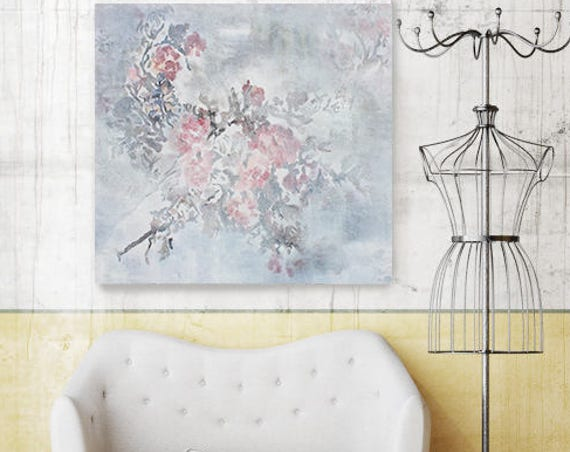 "Softly. Original Floral Cottage Chic Acrylic Painting 24 x 24"", Cottage Chic Floral Pink Grey Rustic Artwork by Irena Orlov"