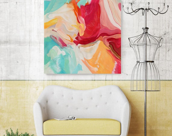Serenade, Colorful Oil Painting, Colorful Abstract Canvas Art, Red Oil Painting, Yellow Oil Painting, Red Yellow Wall Art, Aqua Abstract Art