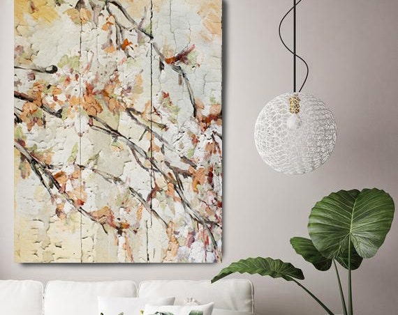 Blooming cherry 2. Floral Painting, Beige Abstract Art, Rustic Floral Painting, Rustic Textured Painting, Blooming Flowers Canvas Print