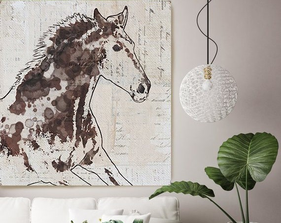 Galloping Brown horse, Horse Art, Brown Rustic Horse, Rustic Vintage Horse, Horse Painting, Horse Wall Decor, Textured Horse Canvas Print