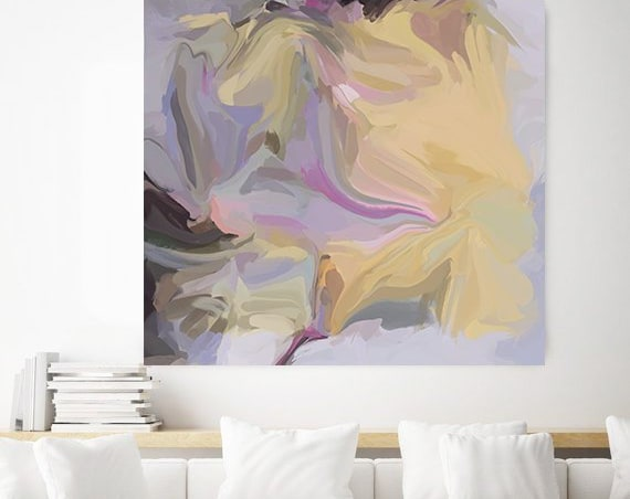Yellow Purple Day. Yellow and Purple Abstract Art, Canvas Art Print of Abstract Paintings, Minimalist Art, Modern Abstract Wall Art