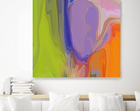 The Eclectic Collection 3 Neon Colors Orange Green Abstract Painting, Original Painting Wall Decor, Large Abstract Canvas Art Print Orlov