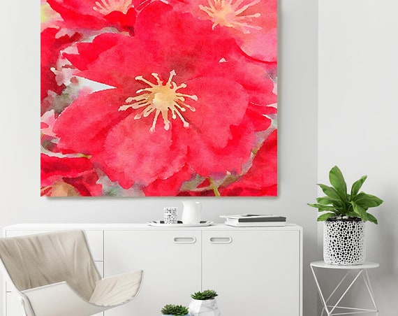 "ORL-10046 Red Flower. Red Watercolor Floral Painting, Red Floral Canvas Art Print, Abstract Floral Canvas Art Print up to 50"" by Irena Orlov"