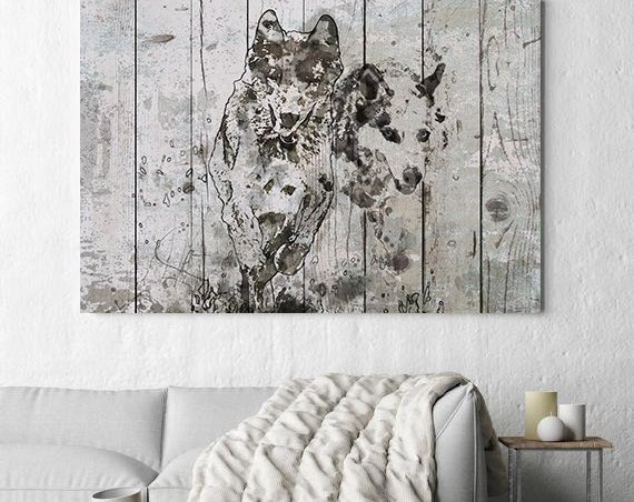 "Running Wolfs. Extra Large Wolf Canvas, Unique Wolf Wall Decor, Gray Blue Rustic Wolf Canvas Art Print up to 72"" by Irena Orlov"