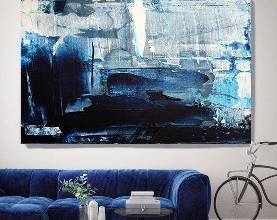 Mondrian Blue Abstract Art, Navy Blue Abstract Painting, Oversized Blue White Painting, Dark Blue Painting, Fine Art Canvas Print up to 80""