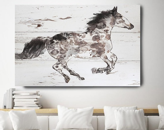 Appaloosa horse, Horse Painting Brown White Minimalist Horse Wall Art, Running Horse, Horse Race, Horse Canvas Print, Farmhouse Art