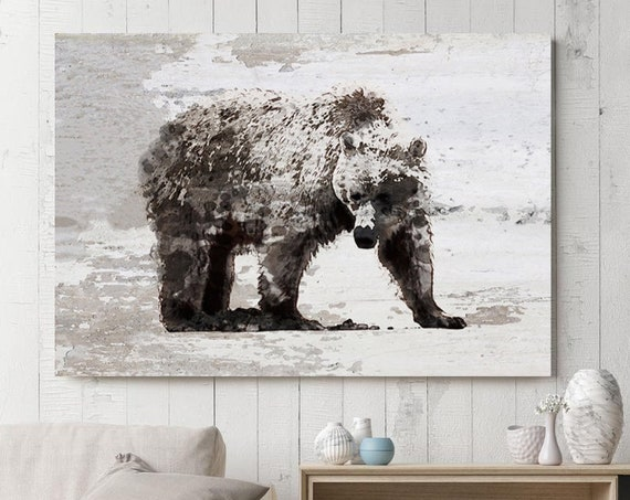 "Brown Bear Art, Bear Painting, Bear Print, Bear Walking, Rustic Bear, Vintage Bear, Bear canvas Art Print up to 81"" by Irena Orlov"