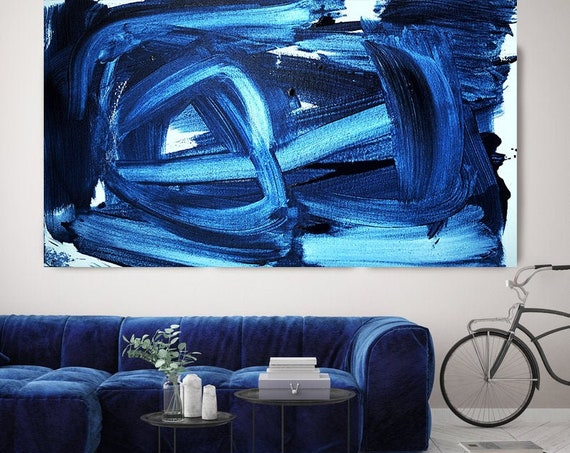 Deep Midnight Blue Abstract Art, Blue Abstract Painting, Blue Abstract Art Painting,Large Painting, Fine Art Canvas Print Size up to 80""