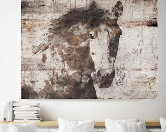 Natural Rustic Horse Art Large Canvas, Horse Art, Brown Rustic Horse, Rustic Vintage Horse Wall Art Print, Abstract Horse, Equine Art,
