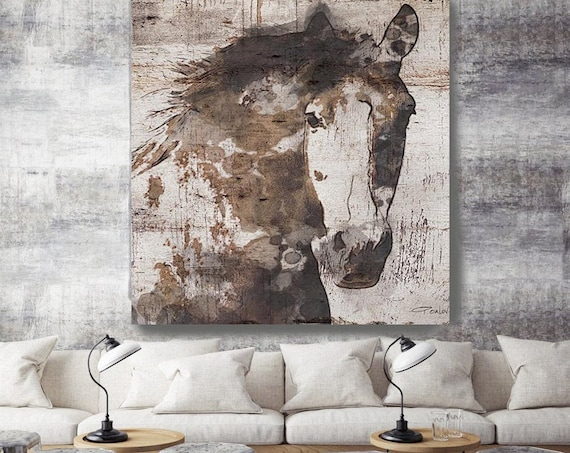 Natural Rustic Horse Art Print on Canvas, Gorgeous Horse Art, Horse Art, Equestrian Farmhouse Art, Barn Horse, Western Art