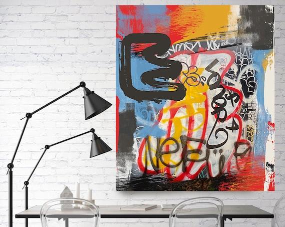 Existence , Street Art, Graffiti Wall Art Red Yellow Blue Street Art Painting Print on Canvas, Large Canvas Print, Urban Canvas Print