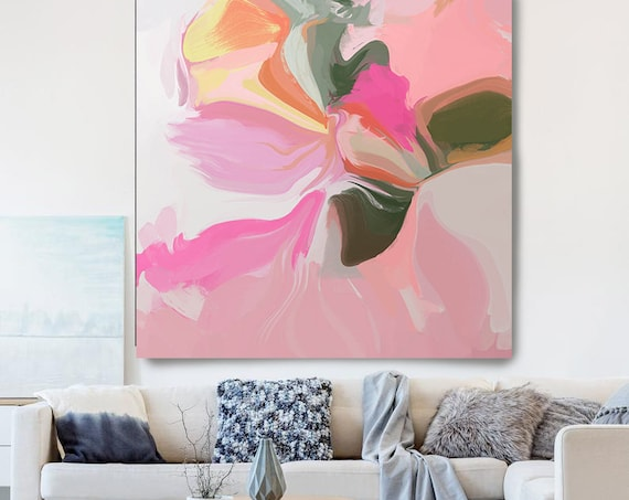 Pink Abstract Art, Abstract Painting, Flow Abstract Artwork Modern Wall Decor, Large Canvas Art Print, Flower Vase,
