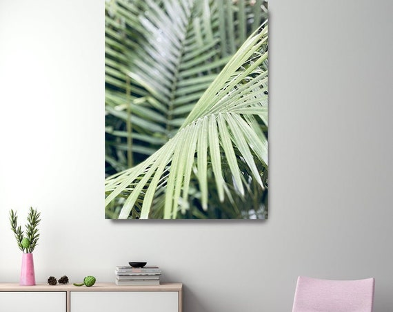 Tropical Blush Green Palm Art, Tropical Canvas Print