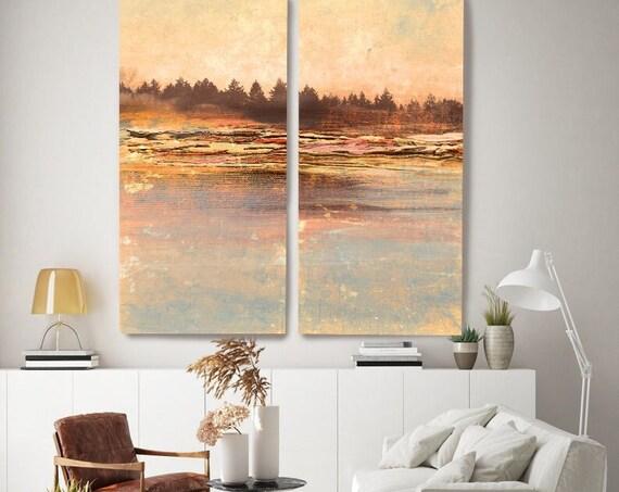 Copper Blue Landscape Painting Morning Haze, Diptych-2 piece-Rustic Landscape Painting, Extra Large Coper Brown  Landscape Canvas Print