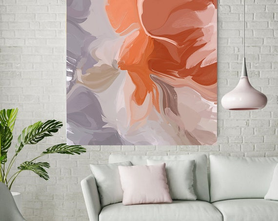 Positive Energy Flow 3, Colorful Blur Abstract Painting Orange Gray Canvas Art Print Extra Large Wall Art Abstract Painting Contemporary Art