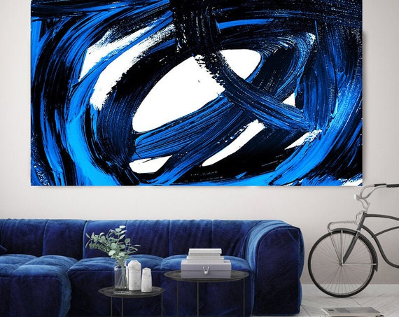 Celebration Blue Abstract Art, Blue Abstract Painting, Blue Abstract Art Painting,Large Indigo Blue Wall Art,Canvas Art Print Size up to 80""